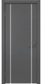 Межкомнатная дверь, ZM017 (шпон ясень серый, триплекс белый)