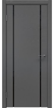 Межкомнатная дверь, ZM017 (шпон ясень серый, триплекс черный)