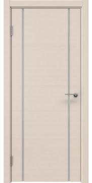 Межкомнатная дверь, ZM017 (шпон беленый дуб, триплекс белый)