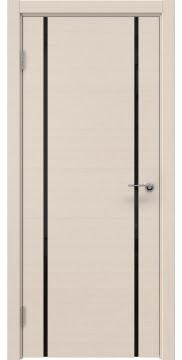 Дверь ZM017 (шпон беленый дуб, триплекс черный)