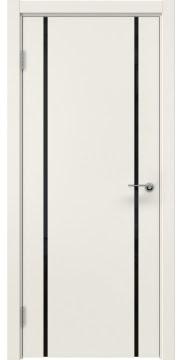 Дверь ZM017 (эмаль слоновая кость, триплекс черный)