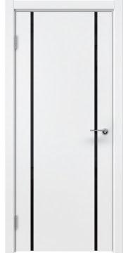 Межкомнатная дверь, ZM017 (эмаль белая, триплекс черный)