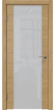 Межкомнатная дверь, ZM018 (шпон натурального дуба, стекло триплекс)
