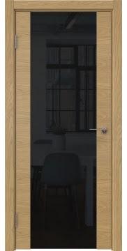 Межкомнатная дверь, ZM018 (шпон дуб натуральный, триплекс черный)