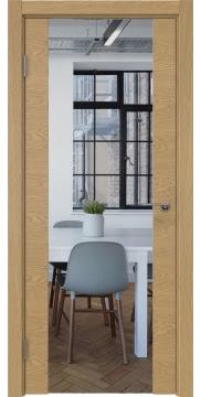 Межкомнатная дверь ZM018 (натуральный шпон дуба / зеркало) — 5895
