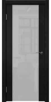 Межкомнатная дверь ZM018 (шпон ясень черный / триплекс белый) — 5785