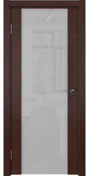 Межкомнатная дверь, ZM018 (шпон итальянский орех, со стеклом триплекс)