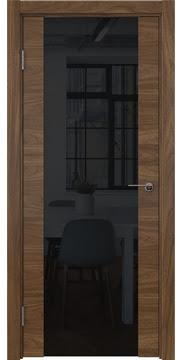 Межкомнатная дверь ZM018 (шпон американский орех / триплекс черный) — 5780