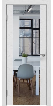 Межкомнатная дверь ZM018 (шпон ясень светло-серый / зеркало) — 5899