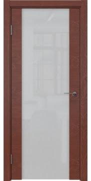 Межкомнатная дверь, ZM018 (шпон красное дерево, триплекс белый)