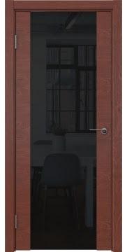 Межкомнатная дверь, ZM018 (шпон красное дерево, триплекс черный)