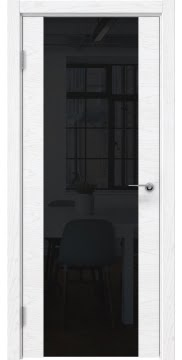Межкомнатная дверь ZM018 (шпон ясень белый) / триплекс черный) — 5460