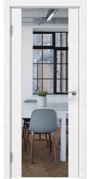 Межкомнатная дверь, ZM018 (шпон ясень белый, зеркало)
