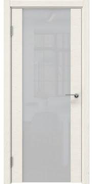 Межкомнатная дверь, ZM018 (шпон ясень слоновая кость, триплекс белый)