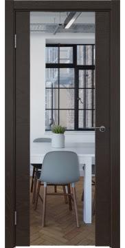 Межкомнатная дверь ZM018 (шпон ясень темный / зеркало) — 5898