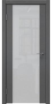 Межкомнатная дверь, ZM018 (шпон ясень серый, триплекс белый)