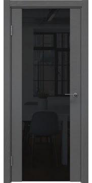 Дверь ZM018 (шпон ясень серый, триплекс черный)