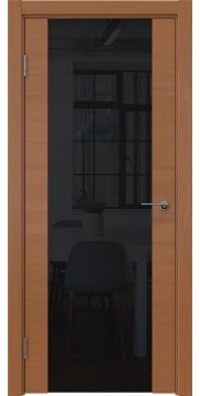 Межкомнатная дверь, ZM018 (шпон анегри, триплекс черный)