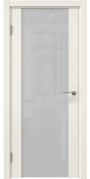 Межкомнатная дверь, ZM018 (эмаль слоновая кость, триплекс белый)