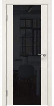 Межкомнатная дверь, ZM018 (эмаль слоновая кость, триплекс черный)