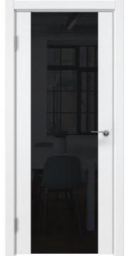 Межкомнатная дверь, ZM018 (эмаль белая, триплекс черный)