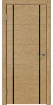 Дверь в спальню, ZM020 (шпон дуб натуральный, триплекс черный)