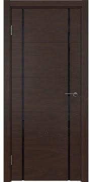 Межкомнатная дверь, ZM020 (шпон дуб коньяк, триплекс черный)