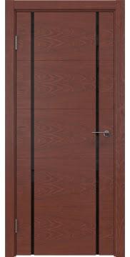 Межкомнатная дверь, ZM020 (шпон красное дерево, триплекс черный)