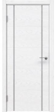 Межкомнатная дверь, ZM020 (шпон белый ясень, триплекс белый)