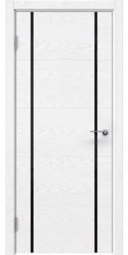 Межкомнатная дверь ZM020 (шпон ясень белый) / триплекс черный) — 5504