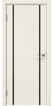 Межкомнатная дверь, ZM020 (шпон ясень слоновая кость, триплекс черный)