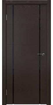 Дверь ZM020 (шпон ясень темный, триплекс черный)