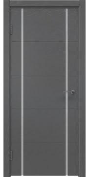 Межкомнатная дверь, ZM020 (шпон ясень серый, триплекс белый)