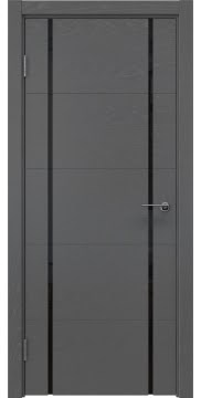 Межкомнатная дверь, ZM020 (шпон ясень серый, триплекс черный)