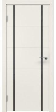 Межкомнатная дверь, ZM020 (эмаль слоновая кость, триплекс черный)