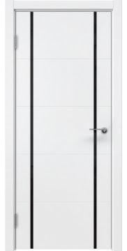 Межкомнатная дверь, ZM020 (эмаль белая, триплекс черный)