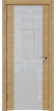 Межкомнатная дверь ZM021 (шпон дуб натуральный, триплекс белый)