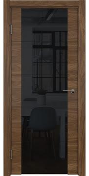 Межкомнатная дверь, ZM021 (шпон американский орех, триплекс черный)