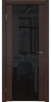 Дверь модерн, каркас из массива сосны ZM021 (шпон дуб коньяк, триплекс черный)