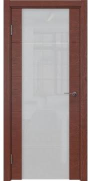 Межкомнатная дверь, ZM021 (шпон красное дерево, триплекс белый)