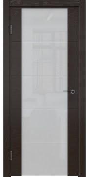 Межкомнатная дверь, ZM021 (шпон ясень темный, триплекс белый)