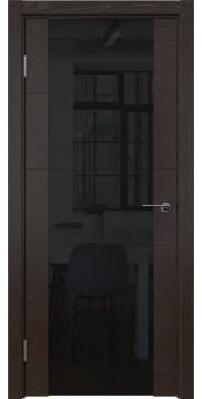 Межкомнатная дверь ZM021 (шпон ясень темный / триплекс черный) — 5528