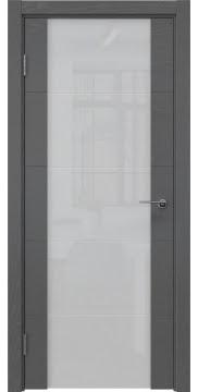 Межкомнатная дверь, ZM021 (шпон ясень серый, триплекс белый)