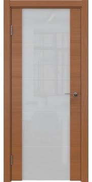 Межкомнатная дверь, ZM021 (шпон анегри, триплекс белый)