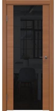 Межкомнатная дверь, ZM021 (шпон анегри, триплекс черный)
