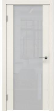Межкомнатная дверь, ZM021 (эмаль слоновая кость, триплекс белый)