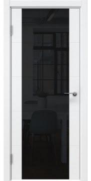 Межкомнатная дверь, ZM021 (эмаль белая, триплекс черный)