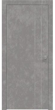 Межкомнатная дверь, ZM023 (экошпон бетон, глухая, алюминиевая кромка)