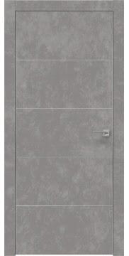 Межкомнатная дверь, ZM025 (экошпон бетон, глухая, алюминиевая кромка)