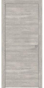 Межкомнатная дверь, ZM025 (экошпон серый дуб патина, глухая, алюминиевая кромка)